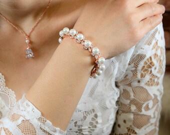 Rose gold Bracelet  Jewelry SET Gold Bridal Earrings Pearl Bridal Jewelry set Crystal Wedding Jewelry