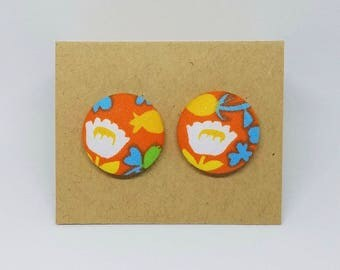 White and Orange Flower Fabric Button Earrings