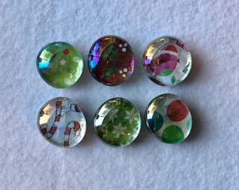 Christmas- Green and Red- Set of 6 Kitchen Refrigerator Magnets
