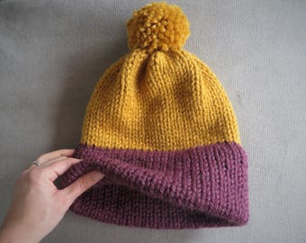 Super Bulky Hand Knit Double Brim Beanie