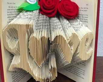 Folded book art for Valentine's Day