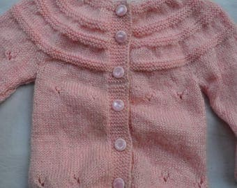 Handcrafted Baby Sweater 100% soft wool for Girls and Boys Pink Colour