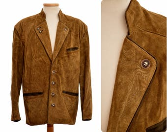 Austrian suede leather Trachten / Hunting JACKET by Moser / country series / mens size Eur 50 M medium / brown colour
