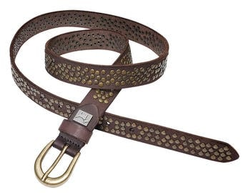 """JANIS"" Leather Belt for women. Width 25 mm. Women's belts. Leather belt with tacks for women."