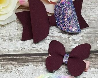 Burgundy hair clip,burgundy hair bows,butterfly hair clip,butterfly hair,glitter hair bow,glitter hair clip,hair bow uk,hair bow clip,bow