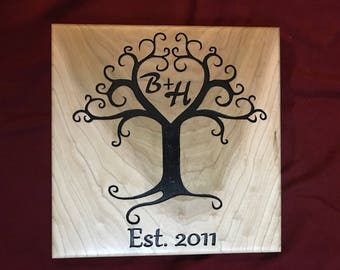 Wood Carved Tree of Love Sign