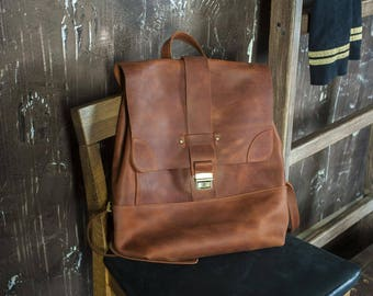 Leather Laptop Rucksack,Boho Leather Backpack,Cognac Laptop Rucksack,Waterproof leather backpack,Laptop Backpack,Cognac Leather rucksack
