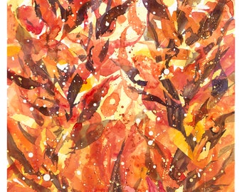 Abstract; Leaf inspired watercolor on 140lb hot  press paper
