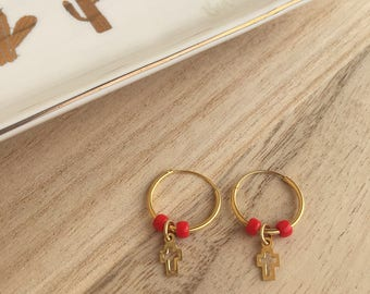Gilded circles with small crosses and red stones in bohemian glass-silver 925