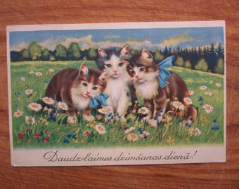 1930ies Happy Birthday  postcards with CATS with BANTS Latvia edit.