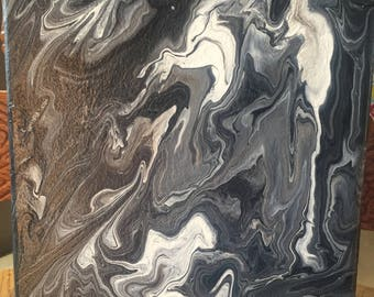 """Black and White Melting Unique 8x10"""" Canvas Painting"""