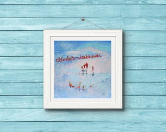 "Art Print of ""Walking on Wet Sand"". Blue and Pink  Oil Painting. Beach Art. Seascape. Family Scene."