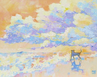 "Art Print. ""Small Dog , Big Sky"",  from my Original Oil Painting. Contemporary Giclee Print. Modern Beach Scene."
