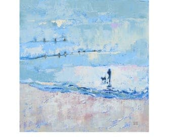 "Art Print of the Original Oil Painting ""Quiet at Last"" A Man and His Dog Alone on the Beach. Contemporary Art from the Seaside."