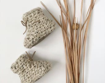 Oatmeal Booties with Leather Sole