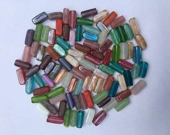 Glass Tube Mix - 6mm x 16mm - 50g (50 Pieces)- New