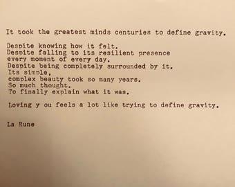 Defining Gravity Poem