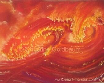 Welle Red-original artwork pastel painting 20 x 30 cm