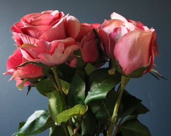 Silk rose head & bud stems - 44cm length