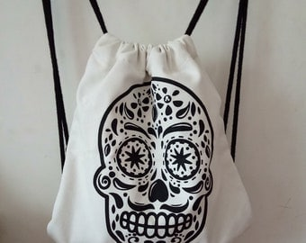 100% Cotton Canvas Drawstring Bags With Skull Pattern