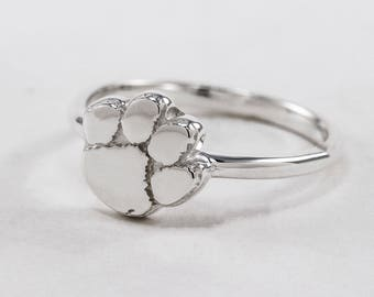 Sterling Silver Clemson Paw Inspired Ring