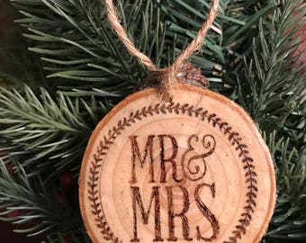 "Rustic ""Mr. & Mrs."" Woodburned Ornament"