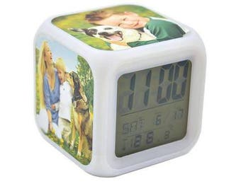 Personalised Alarm Clock, colour changing