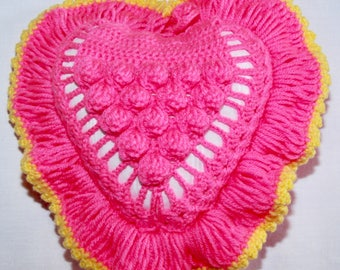 Crochet Heart Shaped Pillow-S