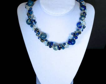 Lapis lazuli, moonstone, sterling silver beads and clasp