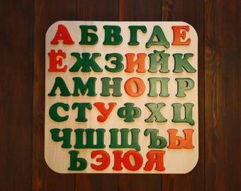 alphabet of wood