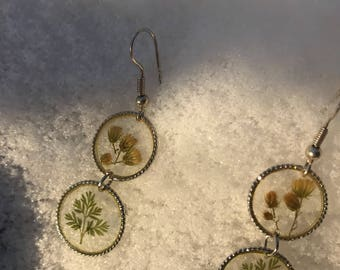 Double leaf and Flower Earrings