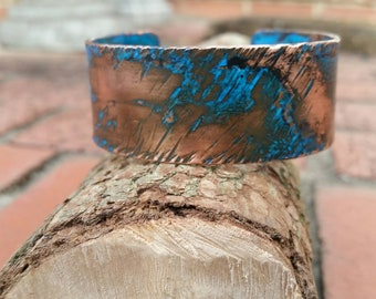 Handmade, distinctive, copper, bracelet, sealed, patina,  adjustable,  hammered, pipe, textured, cuff.