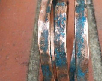 Triple, copper, coated, sealed, hammered, patina, formed, unique, handmade, adjustable,  bracelet, tubing.