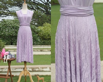Convertible Lace Dress In Lilac Purple
