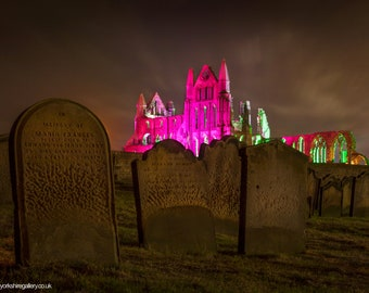 Dracula's Grave Yard And Illuminated Whitby Abbey Canvas, Photo, Framed Print,  By The North Yorkshire Gallery for Home decor
