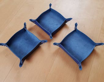 Blue Leather Tabletop Token Trays - Set of Three