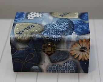 Wooden chest.Gift,decoupage,handmade,Jewellery Chest ,