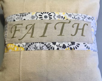 Drop Cloth Decorative Pillow Faith
