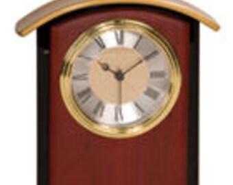 """6 1/2"""" Mahogony Finish Gold Top Clock"""