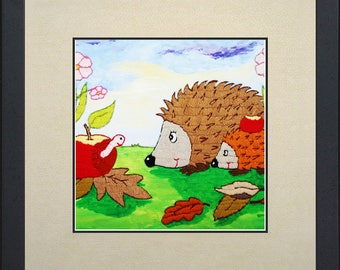 Silk painting of a hedgehog