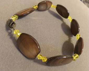 Natural Shell/Swarovski Citrine Bracelet