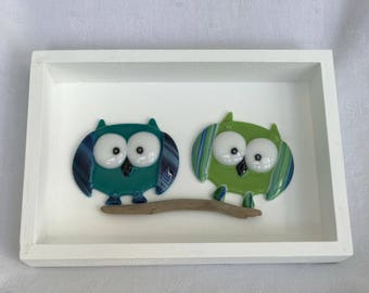 """Fused Glass """"2 Owls"""""""