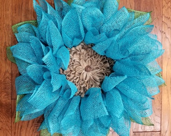 Burlap Sunflower Wreath, Teal Flower Wreath, Large Flower Wreath, Front Door Wreath, Teal Wall Decor, Teal Decoration