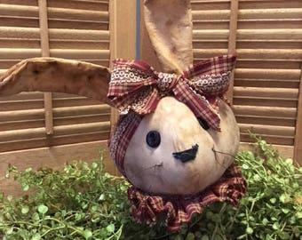 Primitive rabbit head on rusty spring