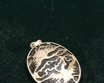 Sterling silver obsidian oriental Pendant