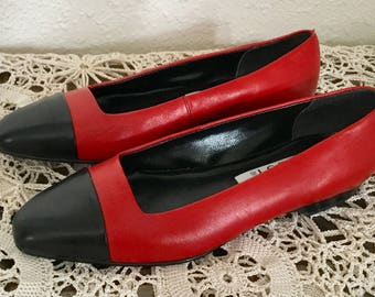 80's Vintage Red and Black Leather Flats