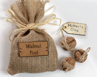 Original gift for Mother's day, Walnut shells, Custom messagege, Personal wish, Interesting gift for Mum, Different gift for Mum