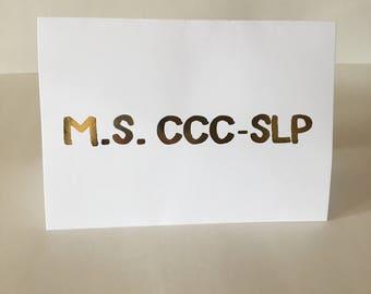 Custom Speech Language Pathologist Card