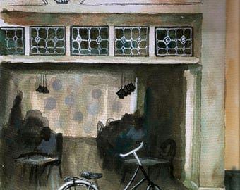 Original print of Blond Amsterdam Cafe painting