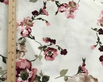 Dress Fabric, White and Pink Floral,by the yard